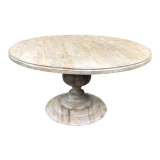 Custom Round Bleached Elm Dining Table For Sale