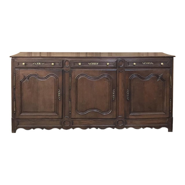 19th Century Country French Provincial Oak Low Buffet For Sale