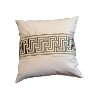 White With Grey Wide Geometric Tape From Schumacher 1 Pillow