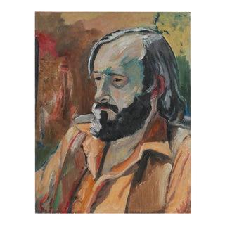 "Jack Freeman ""A.M. Tuggle"" Modernist Portrait of Man Oil Painting, 1972 For Sale"