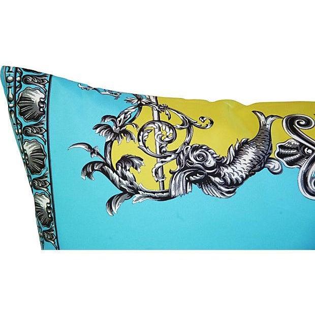 Large Designer Italian Versace Silk Scarf Pillow - Image 6 of 8