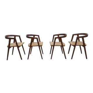 1960s Vintage Allan Gould Mid-Century Modern Rush Seat Compass Chairs - Set of 4 For Sale