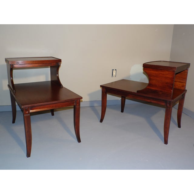 Vintage Federal Style Step Sabre End Tables - A Pair For Sale - Image 10 of 10