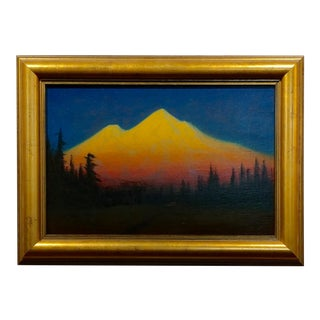 James Everett Stuart- Sunset Glow at Mt Shasta -Beautiful Oil Painting 1921
