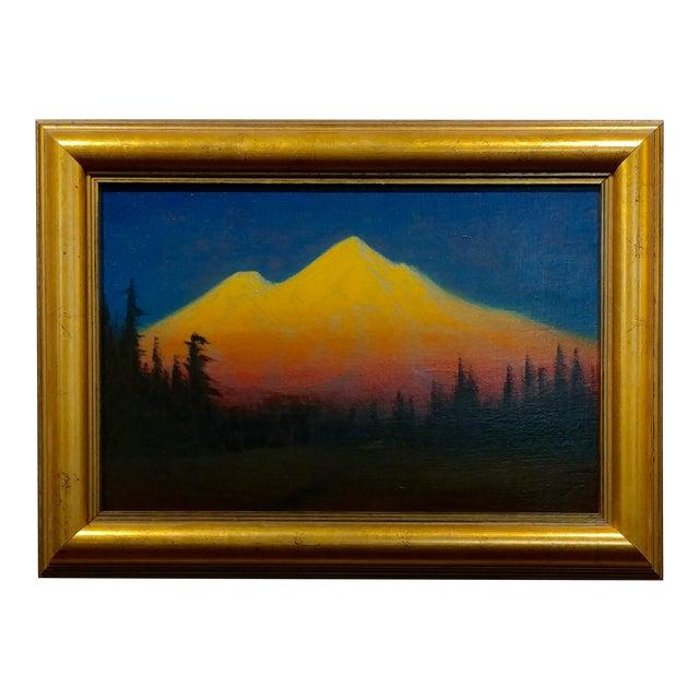 James Everett Stuart- Sunset Glow at Mt Shasta -Beautiful Oil Painting 1921 For Sale