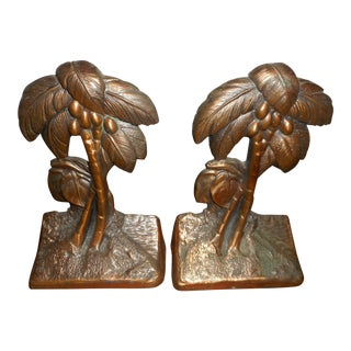 Vintage Bronze Palm Bookends - A Pair