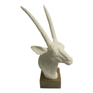 White Gazelle Head Sculpture With Long Elegant Horns on Wood Base For Sale