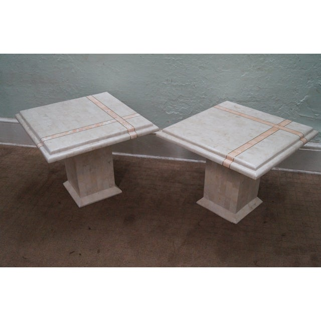 Maitland Smith Tessellated stone marble pair of square pedestal end tables. Approx 30 years, Philippines. Quality pair of...