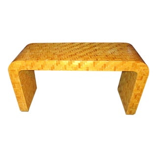 Vintage Bamboo Inlaid Table For Sale