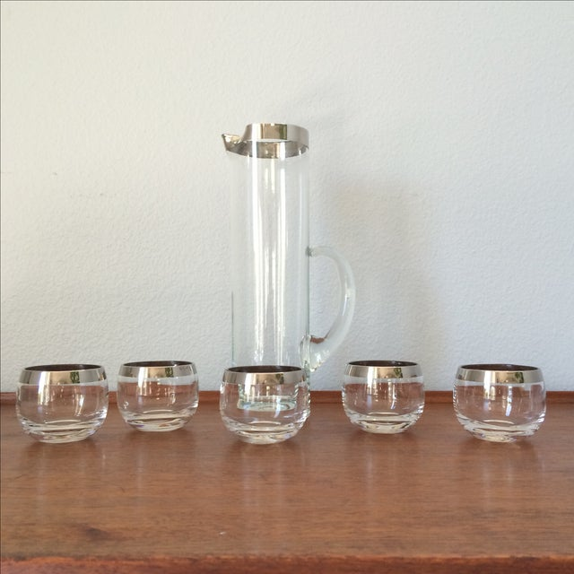 Mid-Century Silver Cocktail Pitcher & Five Glasses - Image 2 of 9