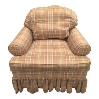Country Ethan Allen Skirted Club Chair For Sale