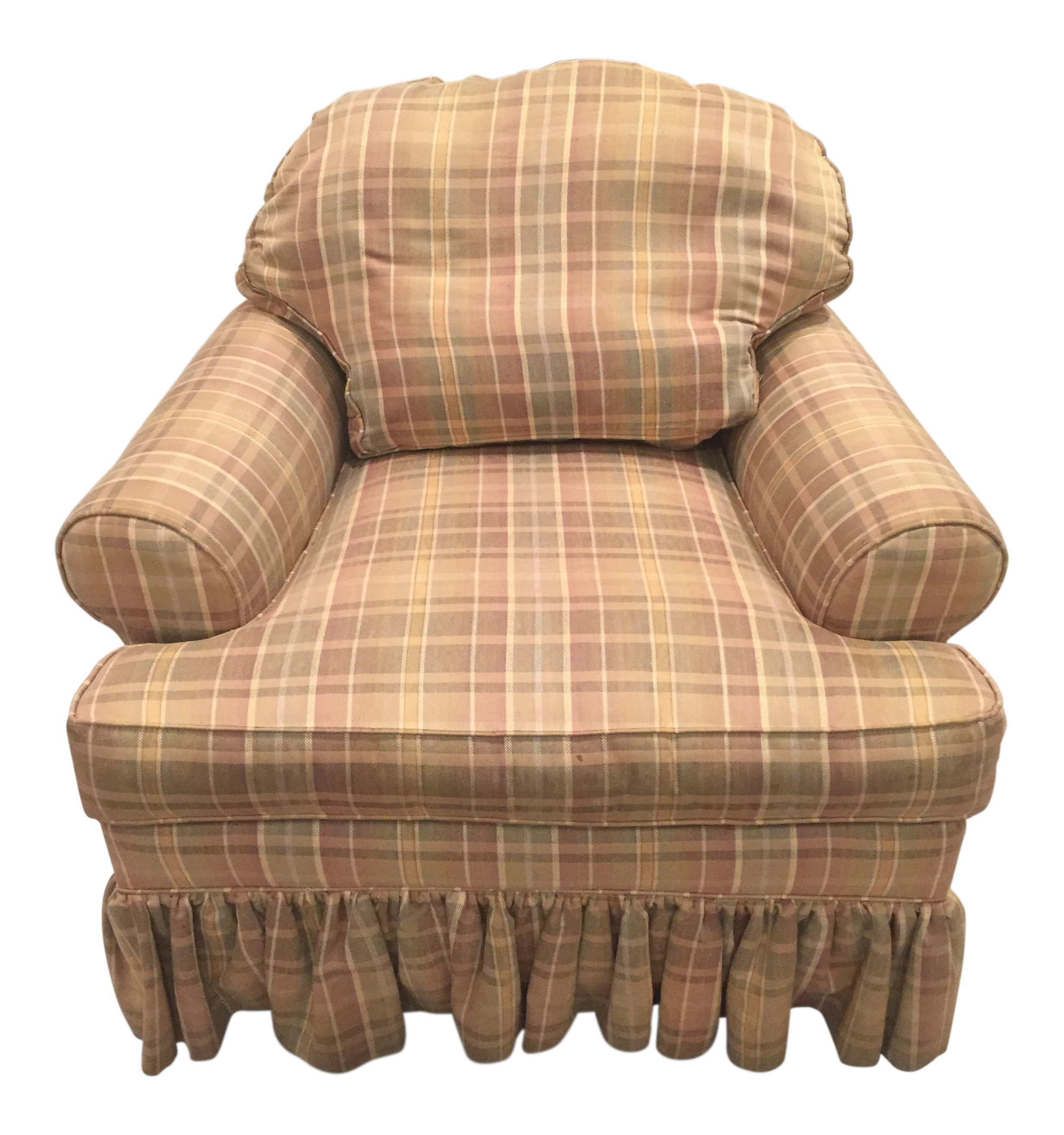 Country Ethan Allen Skirted Club Chair