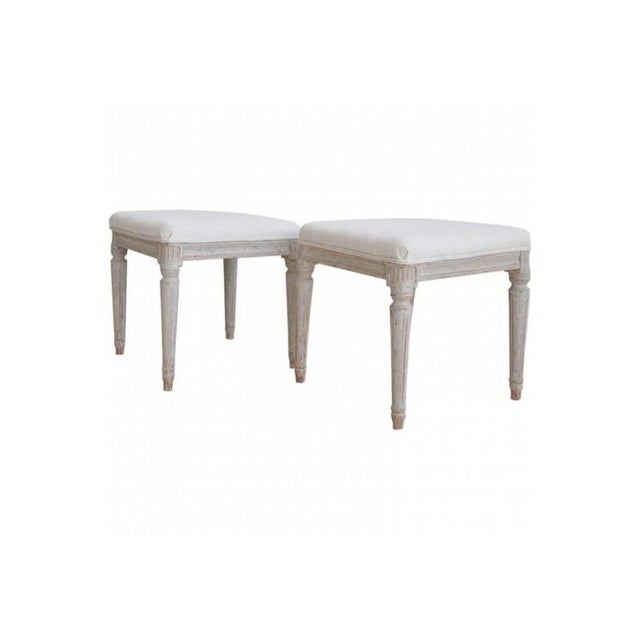 Linen 19th Century Pair of Swedish Late Gustavian Stools For Sale - Image 7 of 7