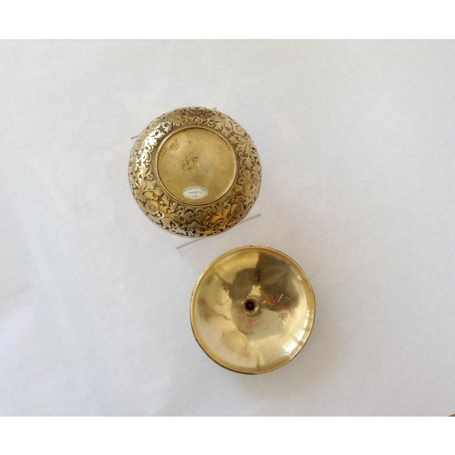 Korean Etched Lidded Brass Bowl For Sale - Image 4 of 5