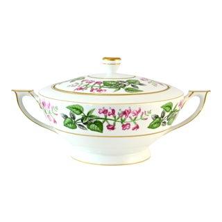Japanese Pink & Green Floral Porcelain Bowl