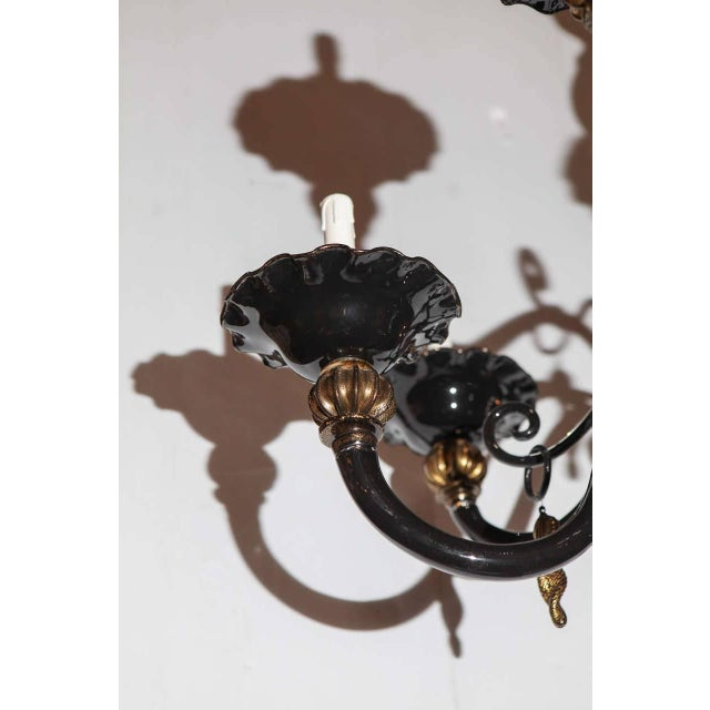 Metal Black and Gold Venetian Chandelier For Sale - Image 7 of 9