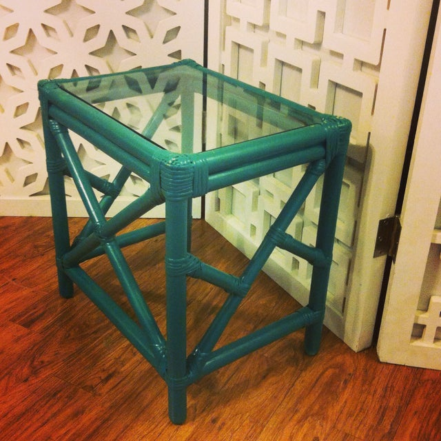 Bamboo Cocktail Table With Chippendale Lattice - Image 2 of 5