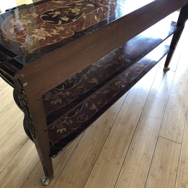 Wooden Inlay Marquetry Petite Console Table With Brass Feet** For Sale - Image 12 of 13