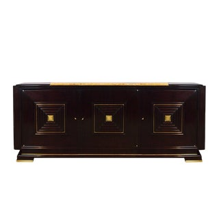 1940´s Sideboard in the Style of Maxime Old, Mahogany, Brass - France For Sale
