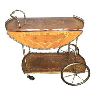 Vintage Italian Inlay Marquetry Bar Cart