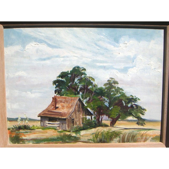 Country Arleen Huseby Mid-Century Texas Shack Painting For Sale - Image 3 of 5