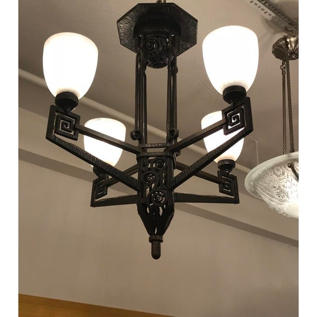 Edgar Brandt Style French Art Deco Chandelier For Sale - Image 11 of 12