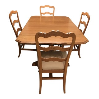 Solid Oak Dining Table & Hutch For Sale