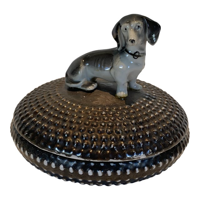 Vintage Dorothy Thorpe Ceramic Circular Box With Dog For Sale
