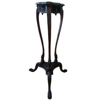 Vintage Carved Wood Side Table Stand Pedestal