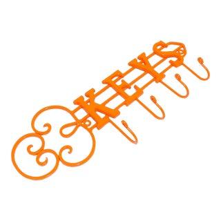 Modern Orange Wrought Iron Key Hook Holder For Sale