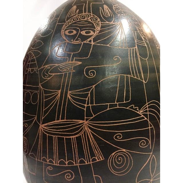 Fantoni 1960s Marcello Fantoni Figurative Brown Ceramic Lamp For Sale - Image 4 of 12