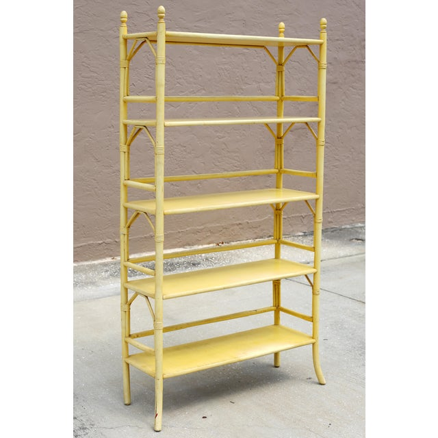 Asian Vintage Yellow Rattan Etagere - Heavy For Sale - Image 3 of 12