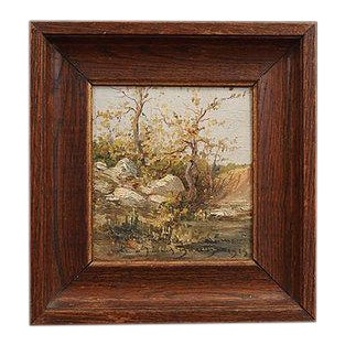 1913 Tree Landscape Oil Painting, Framed For Sale