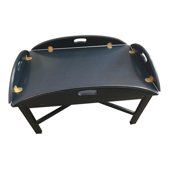 Lacquered Blue Ethan Allen Coffee Table - Image 1 of 5