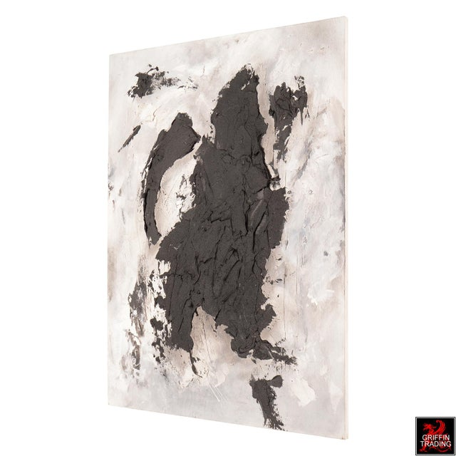 Abstract Black Matter Textured Abstract Painting For Sale - Image 3 of 8