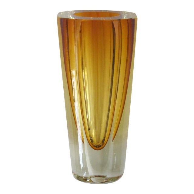 Well-Executed and Thickly-Modeled Faceted Sommerso Hand-Blown Glass Vase, Made by Mandruzzato, Murano For Sale