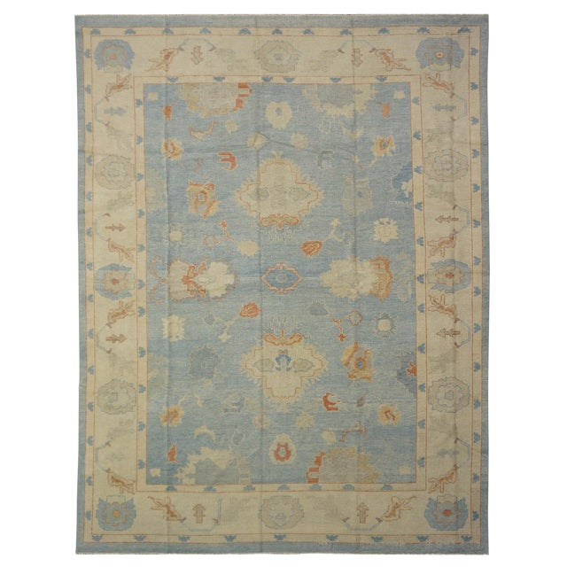 "New Turkish Oushak Rug - 9'9"" x 12'11'' For Sale"
