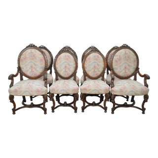 Antique French Louis XV Style Carved Walnut Dining Chairs - Set of 8
