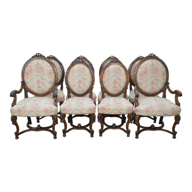 Antique French Louis XV Style Carved Walnut Dining Chairs - Set of 8 For Sale