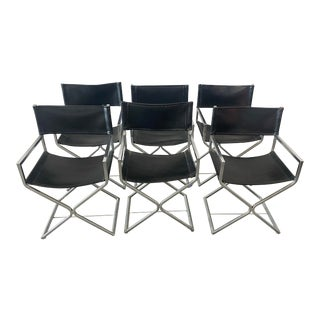Vintage Robert Kjer Jakobsen for Virtue of California Chrome and Leather Director Chairs - Set of 6 For Sale