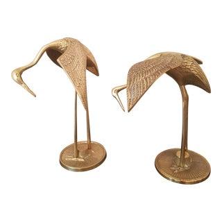 Mid-Century Brass Stork Sculptures - a Pair