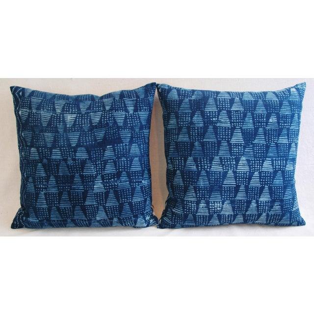 Boho Chic Indigo African Mali Mud Cloth Tribal Pillows - a Pair - Image 3 of 11