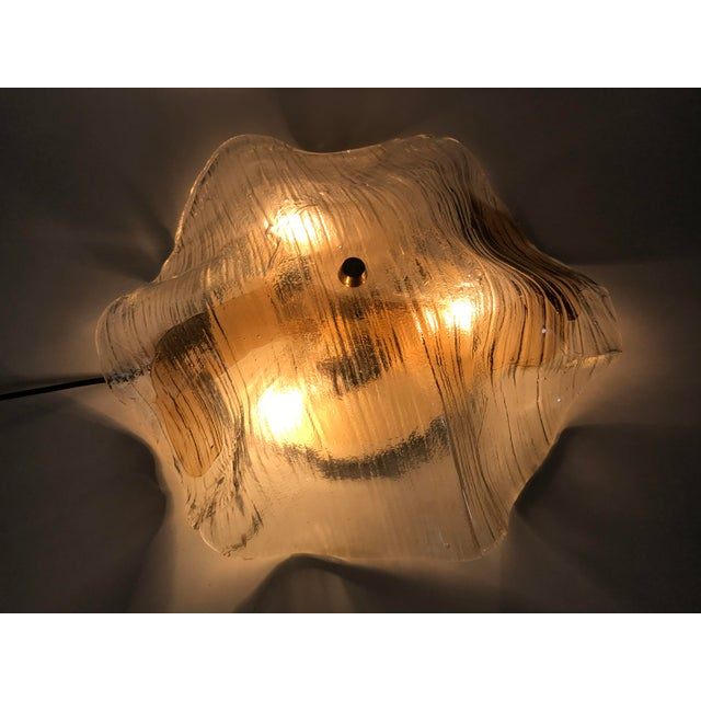 1960s Mid-Century Modern Murano Glass and Brass Flush Mount by Kalmar, Germany For Sale - Image 9 of 11
