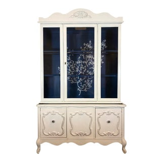 White China Cabinet With Cherry Blossoms on Blue For Sale