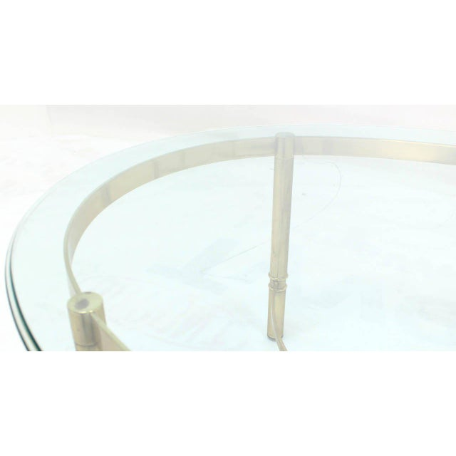 Oval Brass and Glass Coffee Table For Sale - Image 6 of 7