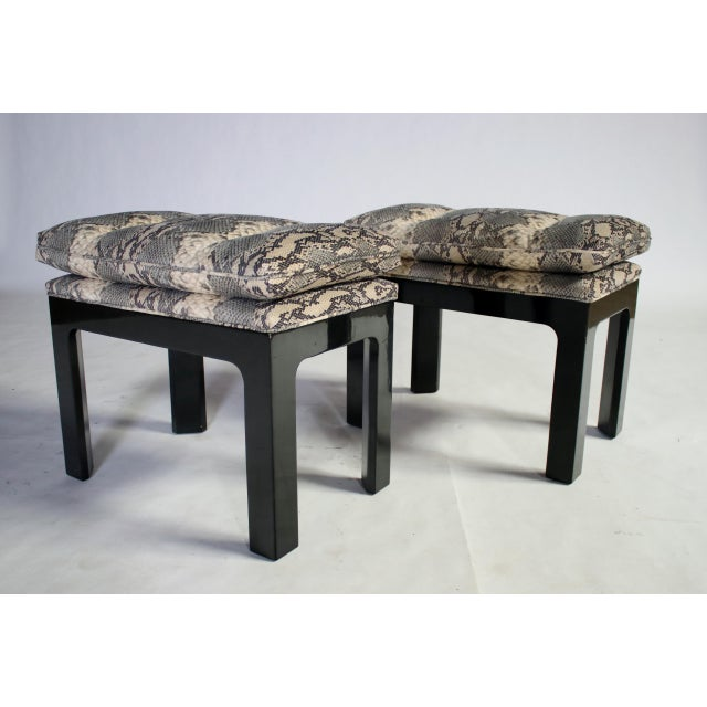 Parson Style Black Lacquered Console Table and Benches - Image 10 of 11