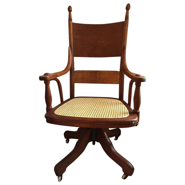 1940s Vintage Cane Office Chair - Image 1 of 8
