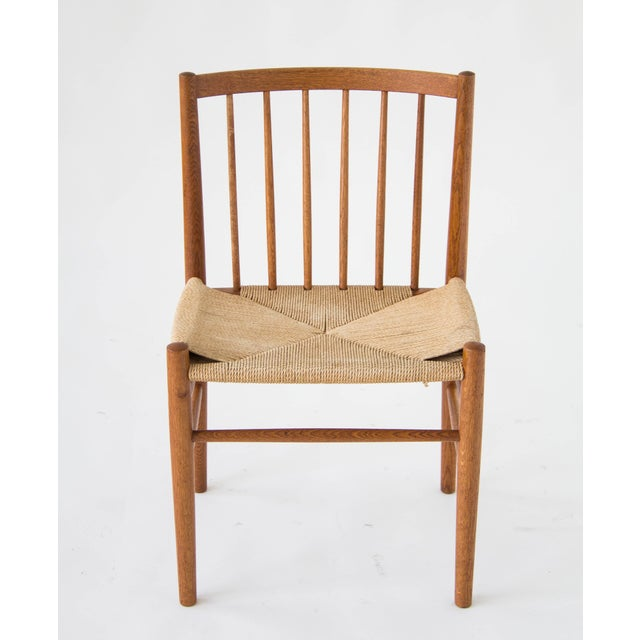 Spindle-Backed Oak and Danish Cord Dining Chairs - S/6 - Image 10 of 10