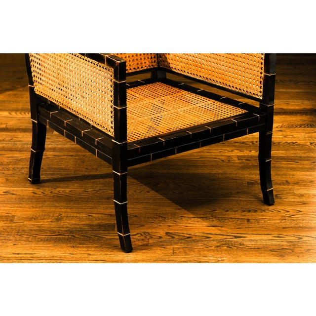 Black Beautiful Restored Pair of Large-Scale Double-Sided Cane Club Chairs For Sale - Image 8 of 9