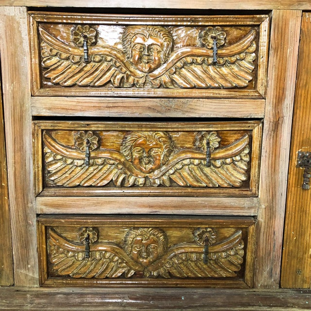Farmhouse Antique Mexican Hand Carved Wood Sideboard With Cherubs and Green Man Motif For Sale - Image 3 of 11